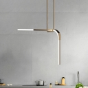 2 Heads Restaurant Suspension Pendant Simplicity Brass LED Hanging Ceiling Light with Geometric Line Acrylic Shade