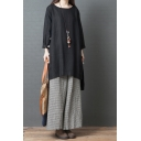 Casual Vintage Plain Long Sleeve Round Neck Cotton and Linen High Low Slit Sides Tunic Oversize Blouse
