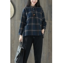 Retro Girls Long Sleeve Lapel Collar Button Up Plaid Printed Linen and Cotton Loose Fit Shirt in Blue