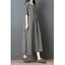 Popular Girls Short Sleeve Round Neck Plaid Printed Patchwork Cotton and Linen Maxi Oversize Dress