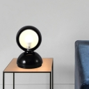 Dome Metal Night Lighting Modernism 1 Head Black Finish Nightstand Lamp with Base for Bedside
