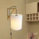 Cylinder Bedroom Wall Lamp Fabric 1 Light Minimalist Sconce Light Fixture in White with Plug In Cord