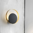 Circle Wall Light Fixture Simplicity Metallic 1-Head Black and Gold Finish Wall Mounted Lighting for Bedroom