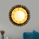 1 Light Living Room Metal Wall Mount Light Modern Yellow Wall Sconce Lighting with Dome White Glass Shade