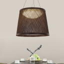 1-Head Kitchne Ceiling Light Modernism Black Finish Pendant Lighting Fixture with Drum Rattan Shade