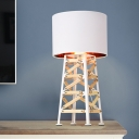 Black/White Drum Night Lamp Simplicity 1 Head Fabric Nightstand Lighting with Wood Detail for Living Room