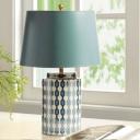 Simple Bucket Fabric Desk Lamp 1 Light Nightstand Lighting in Blue/Orange with Cylinder Ceramic Base