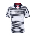 Fashionable Boys Short Sleeve Lapel Neck Button Up Stripe Printed Contrast Piped Slim Fit Polo Shirt