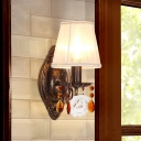 American Flower Conical Wall Lamp 1 Bulb Fabric Wall Light Sconce in Antique Brass with Coffee Crystal Drop