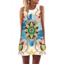 Chic Street Sleeveless Round Neck Floral Rainbow Stripe Pattern Short A-Line Tank Dress in White