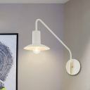 Flared Metallic Wall Sconce Lighting Modernist 1-Bulb White Finish Plug In Wall Mount Lamp with Long Arm