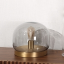 Dome Clear Glass Table Light Postmodern 1 Bulb Gold Nightstand Lighting with Round Metal Base