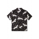 Mens Chinese Style Short Sleeve Lapel Neck Button Down All Over Crane Pattern Slim Fit Shirt in Black