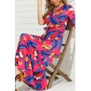 Leisure Summer Ladies Short Sleeve V-Neck All Over Floral Print Bow Tie Waist Maxi A-Line Dress