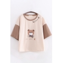 Casual Ladies Three Quarter Sleeve Round Neck Bear Graphic Bow Tie Color Block Relaxed Tee Top in Khaki
