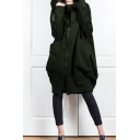 Cool Street Womens Long Sleeve Zip Up Solid Color Patched Pockets Long Oversize Hoodie
