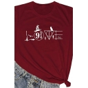 Simple Cool Girls Rolled Short Sleeve Crew Neck Letter LOVE Cartoon Graphic Fitted T Shirt in Burgundy
