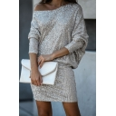 Chic Bling Bling Silver Long Sleeve Drop Shoulder Sequins Knitted Mini Sheath Dress for Nightclub