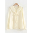Cute Womens Long Sleeve Peter Pan Collar Bow Tie Front Single Breasted Relaxed Shirt in Yellow