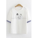 Chic Simple Womens Short Sleeve Round Neck Cartoon Printed Contrasted Loose T-Shirt in White