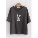 Girls Fashionable Short Sleeve Round Neck Rabbit Printed Loose Fit T-Shirt