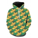 Popular Mens Long Sleeve Drawstring Allover Geo Printed Pouch Pocket Loose Fit Hoodie in Green
