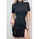 Retro Chinese Style Short Sleeve Mandarin Collar Frog Button Slit Short Bodycon Black Dress for Women