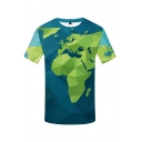Unique Boys Short Sleeve Round Neck The World Map 3D Printed Relaxed Tee in Green