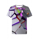 Chic Unisex Short Sleeve Round Neck Digital Geometric 3D Printed Loose Fit Tee in Gray