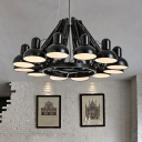 12 Heads Metallic Down Lighting Vintage Black/Red Finish Swing Arm Living Room Ceiling Chandelier