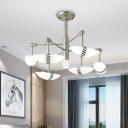 Starburst Bedroom Chandelier Metallic 6 Bulbs Modernism Hanging Light in Gold with Sushi Shape Frosted Glass Shade