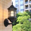 Metallic Castle Shape Wall Mount Lighting Lodges 1-Head Outdoor Sconce Lamp in White/Black/Brass