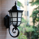 Acorn Passage Wall Light Sconce Country Metal 1 Bulb Black Finish Wall Mount with Twisted Arm
