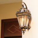 Brass Lantern Wall Sconce Light Country Ribbed Glass 1 Bulb Outdoor Wall Mount Fixture