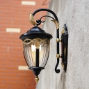 Acorn Outdoor Sconce Lodges Clear Prismatic Glass 1 Bulb Black Finish Wall Lighting