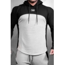 Unique Stylish Guys Long Sleeve Zipper Front Drawstring Patterned Patched Pleated Fit Hoodie