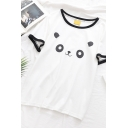 Cute Simple Girls Short Sleeve Round Neck Panda Printed Contrast Piped Relaxed Fit T-Shirt in White