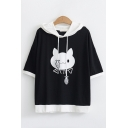 Popular Cute Girls Short Sleeve Fish Drawstring Cat Fishbone Pattern Contrasted Relaxed Fit Hoodie