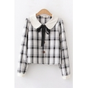 Lovely Womens Long Sleeve Peter Pan Collar Bow Tied Button Down Plaid Printed Slim Fitted Blouse
