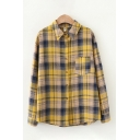 Ladies Casual Long Sleeve Lapel Collar Button Down Plaid Patterned Relaxed Fit Curved Hem Shirt