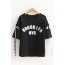 Chic Streetwear Girls Short Sleeve Round Neck Letter BROOKLYA NYC Stripes Cut Out Relaxed Tee