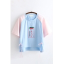 Preppy Girls Short Sleeve Round Neck Japanese Letter Strawberry Graphic Color Block Lace Up High Low Hem Relaxed T Shirt