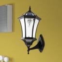Black Finish 1 Light Sconce Lighting Rustic Clear Glass Hexagonal Solar Energy Wall Mount Lamp