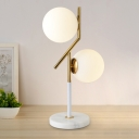 Global Desk Light Simplicity White Glass 2 Bulbs Gold Nightstand Lamps with Marble Base for Bedroom
