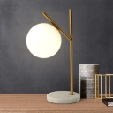 Simplistic Sphere Desk Light White Glass 1 Bulb Bedroom Night Table Lamps with Marble Base