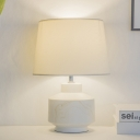 White Tapered Night Table Lamps Simplistic 1-Bulb Ceramic Desk Light with Fabric Shade