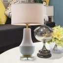 White Drum Night Table Lamps Simplicity 1 Bulb Fabric Desk Light with Ceramic Bottle Base for Bedroom