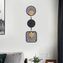 Black Geometric LED Wall Sconce Lighting Contemporary 2 Heads Metal Wall Mount Lamp for Bedroom