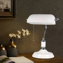 Rectangle Metal Table Lighting Nordic 1 Light White Finish Night Light for Living Room with Pull Chain