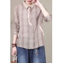 Creative Womens Long Sleeve Lapel Neck Irregular Button Down Plaid Printed Contrasted Linen Patchwork Relaxed Shirt